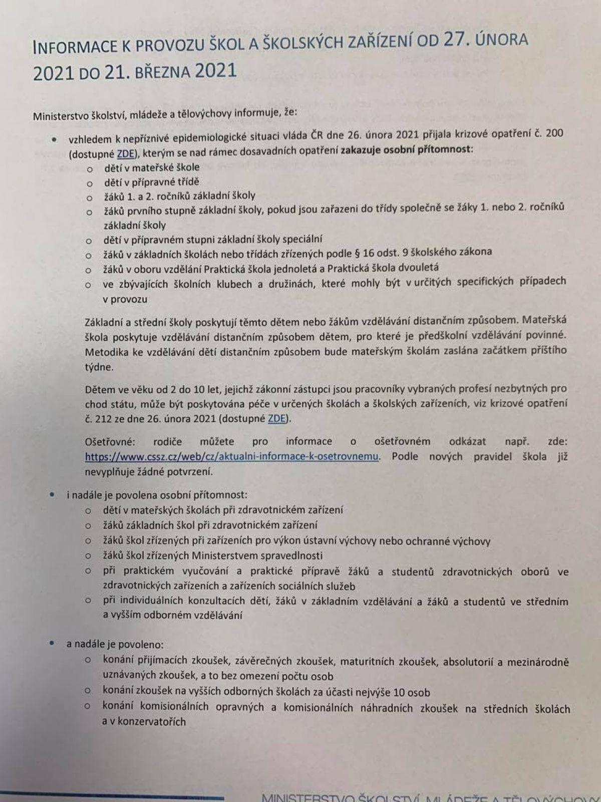 Informace k provozu škol od 1.3.2021